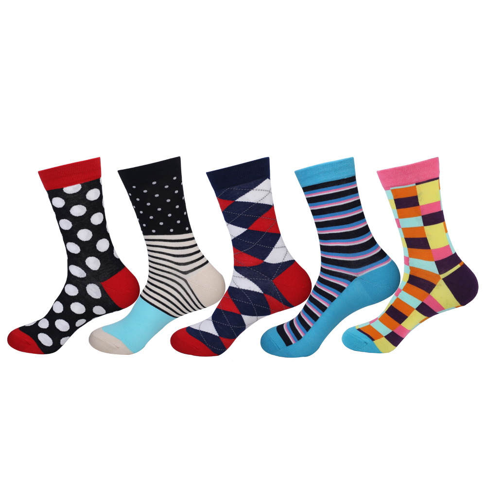 high quality Mens Socks Lot 80% Combed Cotton Business Socks for Gentleman Gift Plaid Dots Stripes Dress Socks Brand New