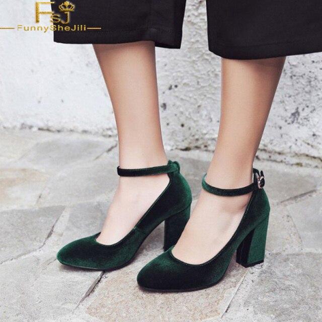 9d87d7834fb2 FSJ Classic Womens Autumn Dark Green Ankle Strap Pumps Soft Velvet Vintage  Block Square Heel Dress Work Shoes Zapoto Mujer Size