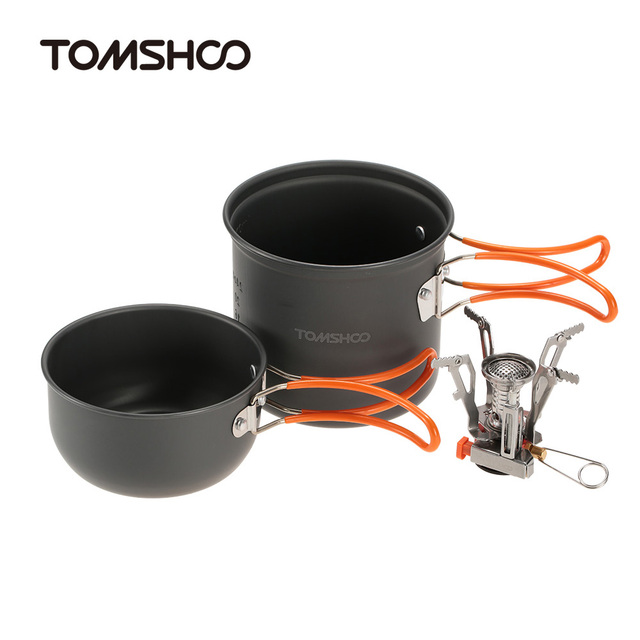 TOMSHOO Outdoor Camping Hiking Cookware with Mini Camping Piezoelectric Ignition Stove Foldable Cooking Picnic Pot Set Cook Set