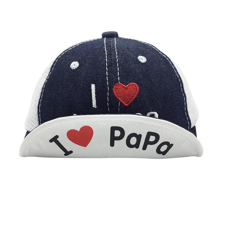 Fashion Summer Boys And Girls Cowboy Soft Baseball Cap I Love Papa Baby Leisure Flanging Hats Kids Photography Props