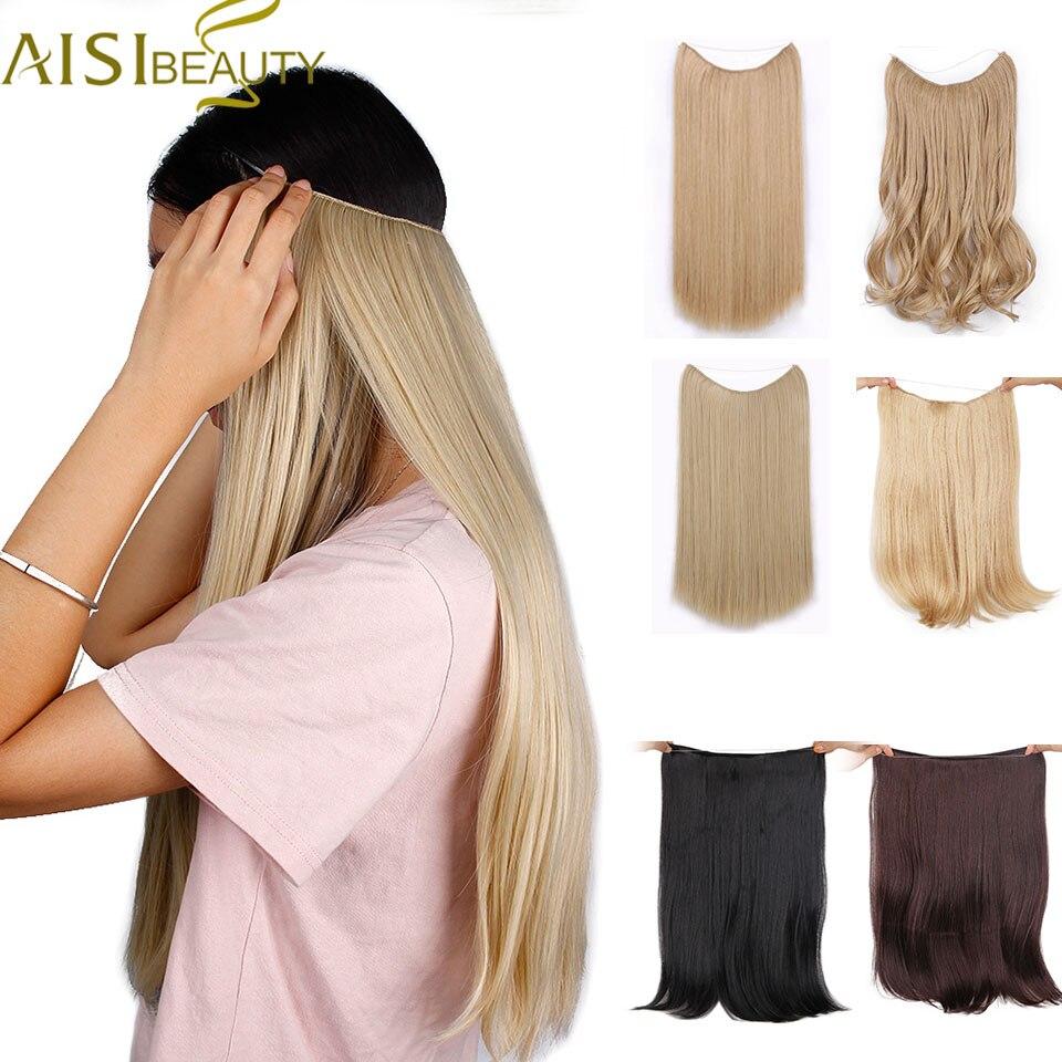 AISI SCHÖNHEIT Lange Synthetische Haar Hitze Beständig Haarteil Fisch Linie Gerade Haar Extensions Geheimnis Unsichtbar Haarteile