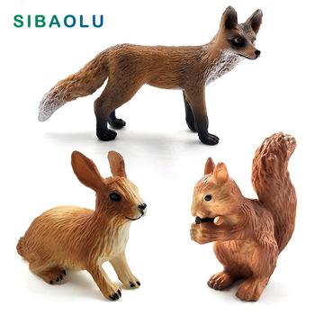 Simulation Little Fox hare Rabbit Squirrel Animal model figurine home decor miniature fairy garden decoration accessories statue 1