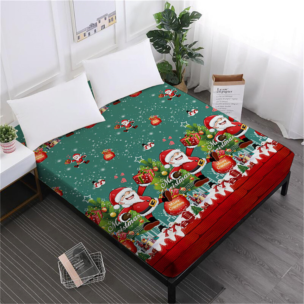 Home Textile Green Christmas Bed Sheet Cute Santa Claus Print Fitted Sheet Cartoon Festival Bedclothes Mattress Cover D40