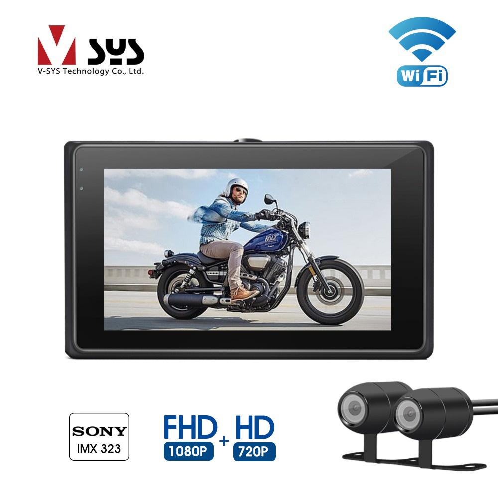 VSYS M1 WiFi Dual Camera Motorcycle Recorder DVR with Front Full HD 1080P Rear View 720P Waterproof Lens Dash Cam Action Camera vsys motorcycle dvr 3 0 x2 upgrade m2f wifi real fhd dual 1080p motorcycle camera dash cam front
