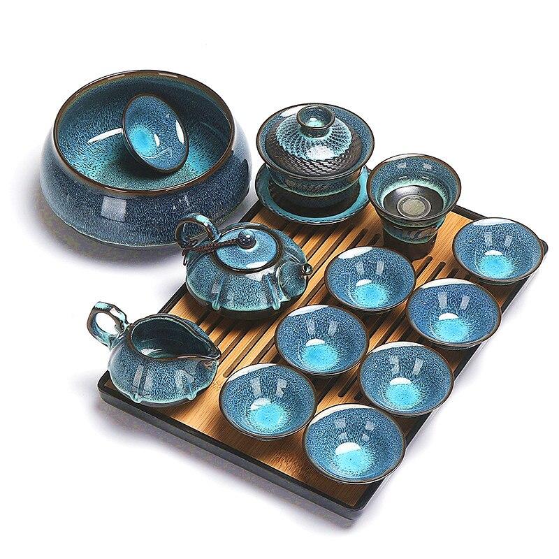 Juego de té kungfú chino, cuenco con cubierta de cerámica esmaltado de color ámbar azul, tetera, taza de té, juego de té para lavar el hogar, juego de té simple