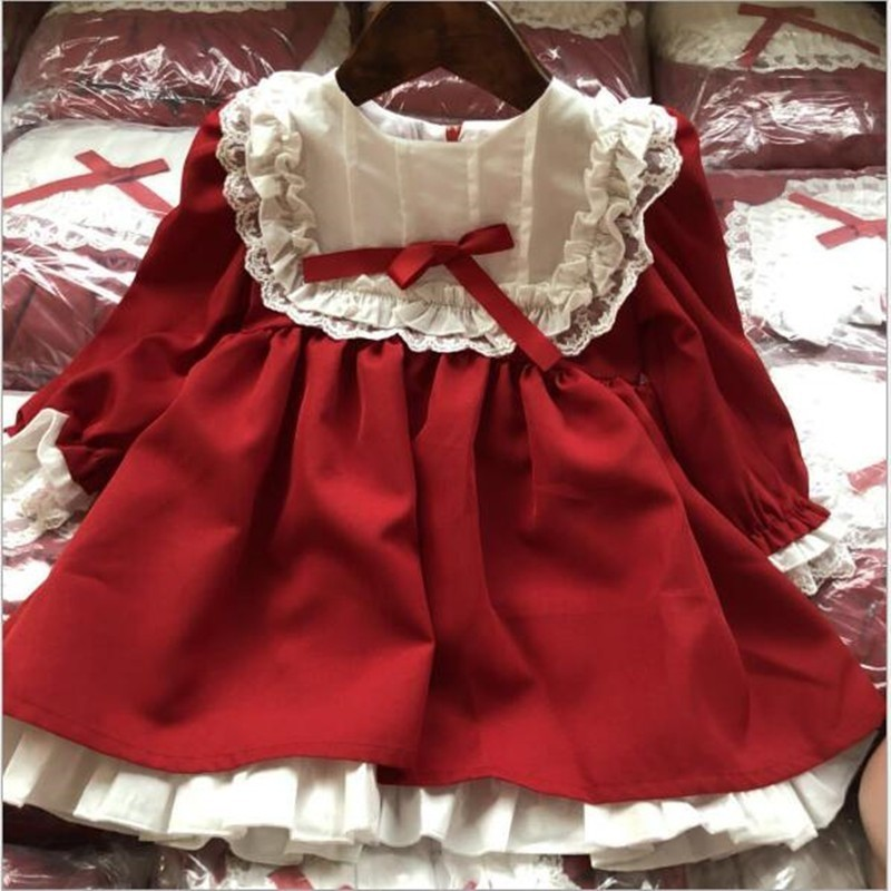 baby girl red dress long sleeve lace vintage retro kids dresses for girls clothes christmas title=