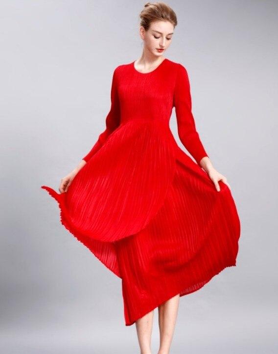 Stock Longues Gratuite Manches Robe Avec Un A Mode En Plissée robe Pli rouge Deux Livraison Plissé Volants À Bleu xqnfadqX