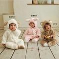 Милый зима теплая с длинным рукавом ватки младенческой ребенок ползунки мультфильм комбинезон мальчики животных в целом menino menina один-шт