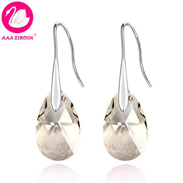 Women S Grey Water Drop Crystal Earring Made With Swarovski