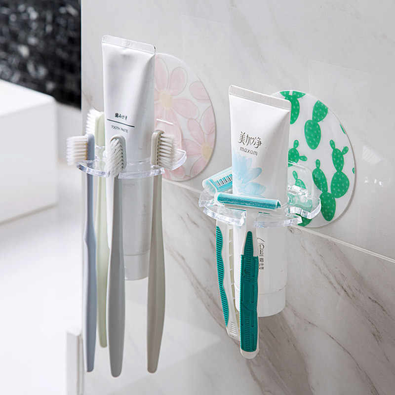 Multifunction Strong Suction Wall Shaped Toothbrush Rack Bathroom Toothbrush Holder Punch-free Bathroom Shelf Toothpaste Holder