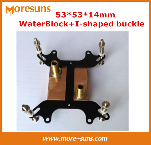 Free ship 5pcs/lot 53*53*14mm Pure copper Water Cooling Block,I-shaped buckle+Computer copper CPU Water Block free shipping 53 53 14mm pure copper water cooling block for intel cpu buckle computer copper cpu water block