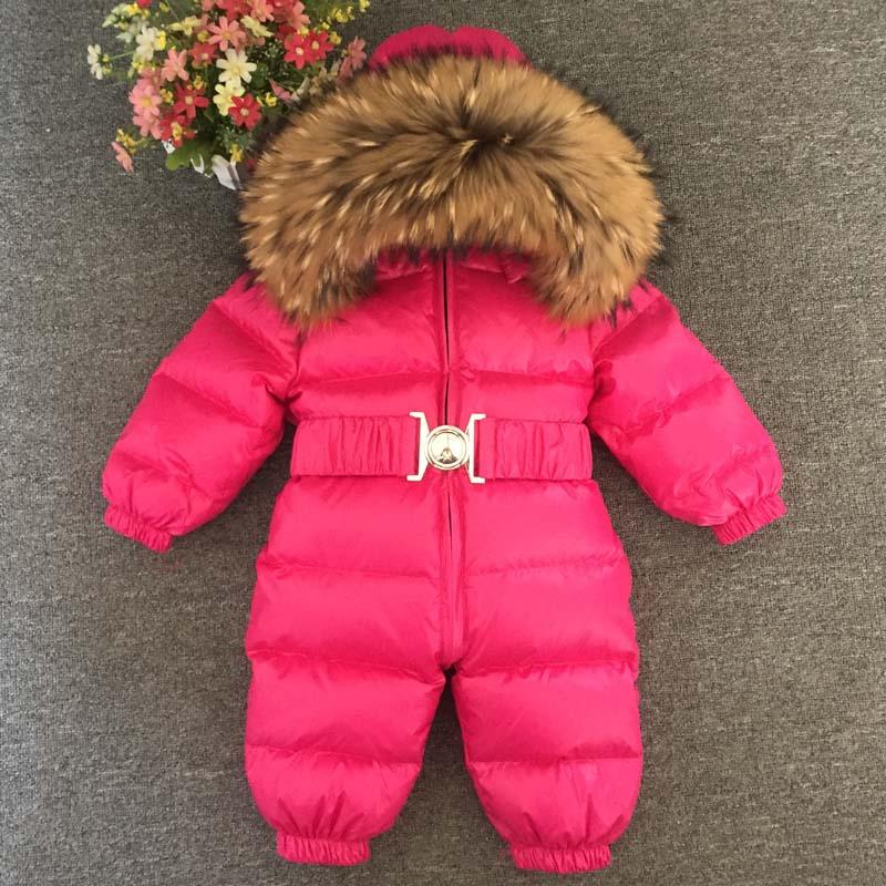 30 градусов детские комбинезоны 2018 новые брендовые зимние новорожденных пуховики натуральный мех воротник комбинезон для мальчиков и дево
