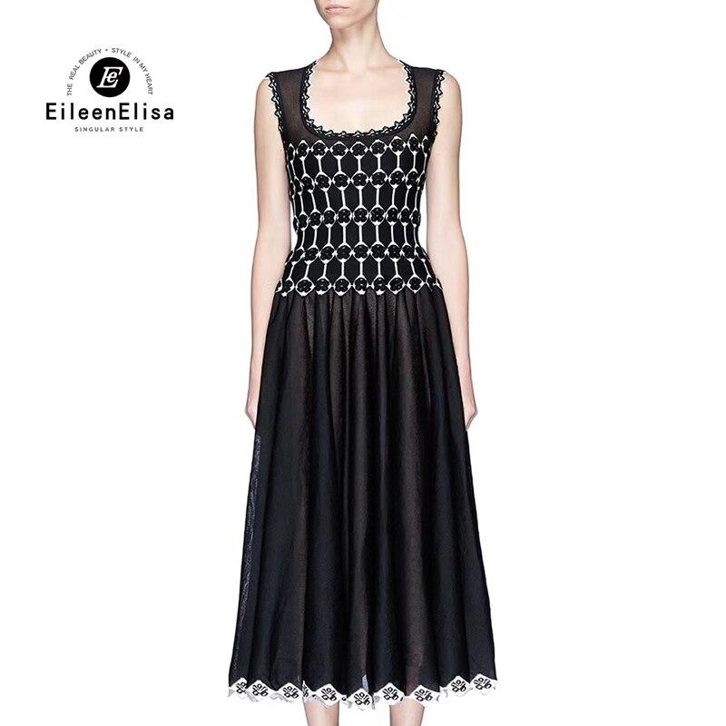 Black Long Dresses Elegant Women 2018 Spring Sleeveless O-Neck  Dresses Empire Knitted Dresses Fashion