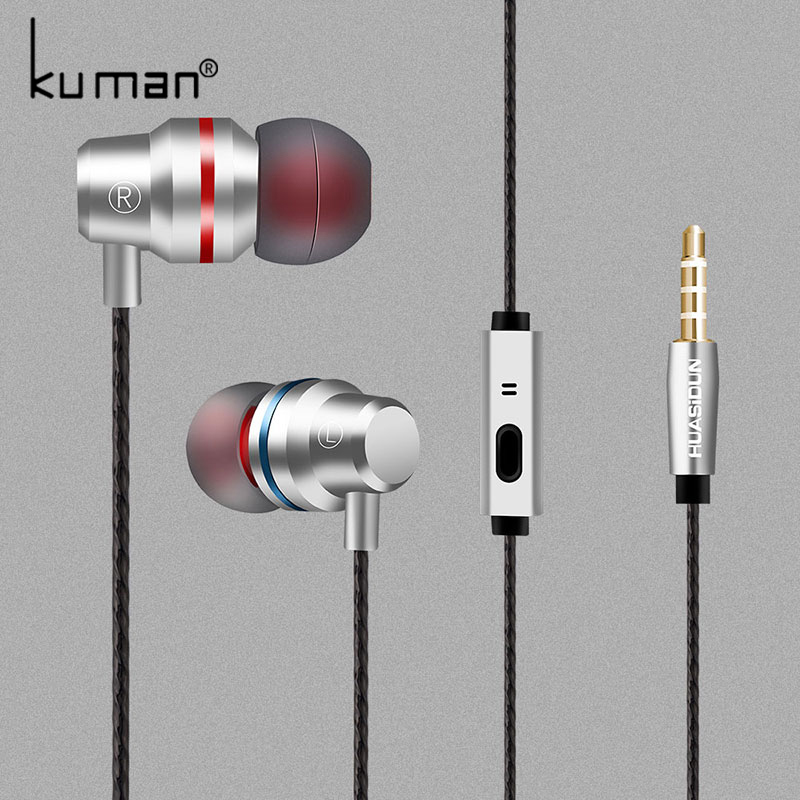 Kuman Sport In Ear Earphone Headsets with Microphone Super Bass Headset For iphone Xiao Huawei Phone PC Gaming YL-HW3