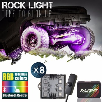 X-LIGHT Bluetooth Control 8PC RGB LED Multi-Color Offroad Rock Light Bluetooth Wireless For Truck Jeep with Switch Music Mode