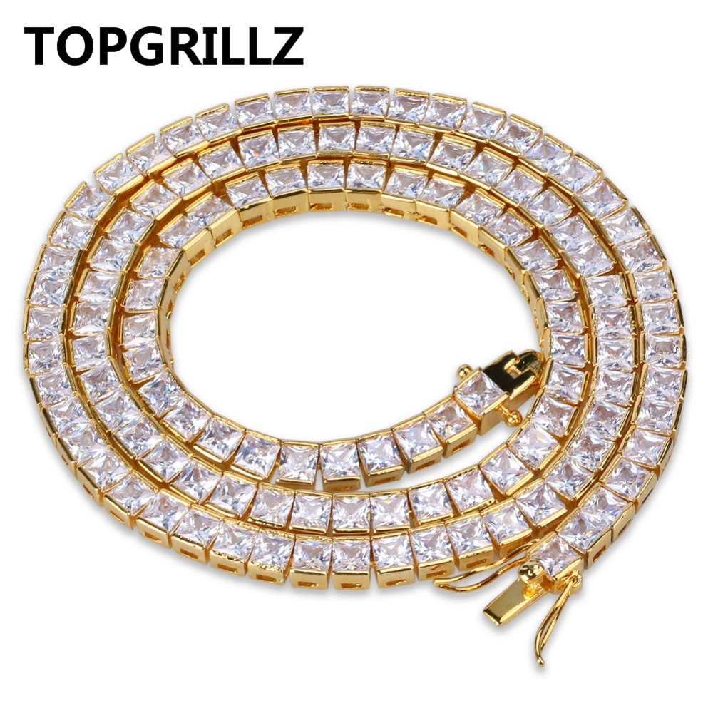 TOPGRILLZ Gold&Silver Color Iced Out 1 Row 6mm Micro Pave CZ Stone Necklace 18 22 Length Box Chain Hip Hop Jewelry For Men topgrillz spikes rivet stud mens rivet charm bracelets 2018 iced out gold silver color bracelets for men hip hop punk jewelry