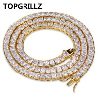 TOPGRILLZ Gold Silver Color Iced Out 1 Row Micro Pave CZ Stone Necklace 20 24 30