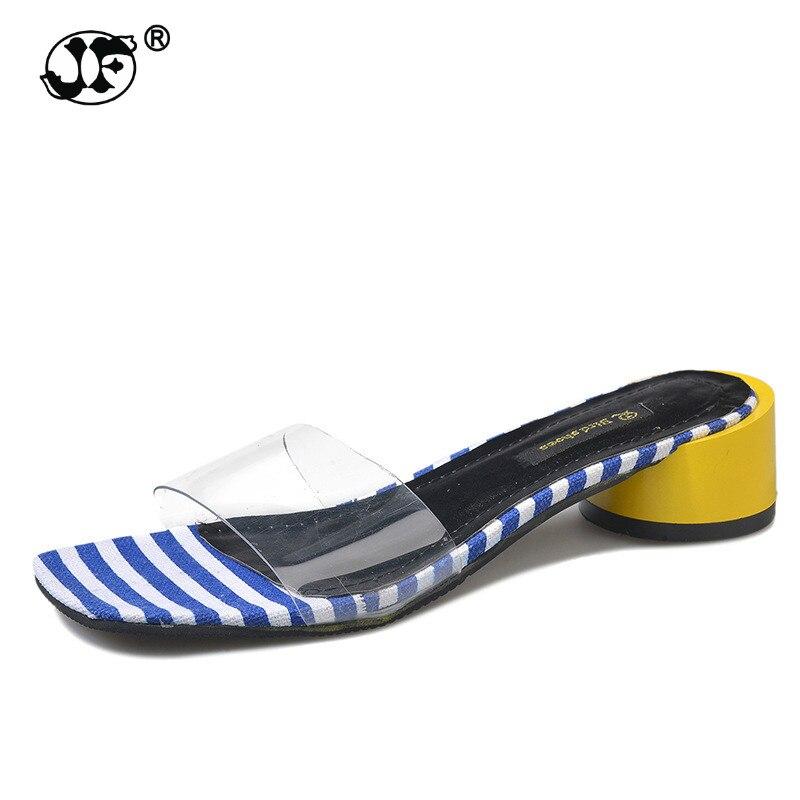 Модные женские туфли слайды острый носок летние туфли квадратный каблук коричневый бежевый тапочки женская обувь Шлёпанцы открытый zapatos ...
