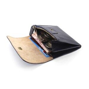 Image 5 - コイン財布女性財布本革ミニ財布小さなコインポーチ掛け金 & ジッパー袋カードホルダーポケット男性牛革財布