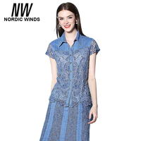 Nordic Winds Womens Blouses Denim Short Sleeve Hollow Out Patchwork Floral Blouse Plus Size 4XL Woman