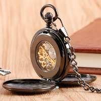 Cool Black Double Hunter Design Mechanical Pocket Watches Roman Number Skeleton Dial Fob Watch with Chain Christmas Gift