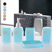 Tooth Brush Holder Gargle Cup Press Bottle Soap Dish Wash Suit Bath Accessories 5 Pcs Creative