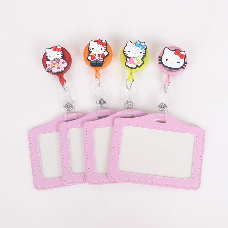 Cute Kitty Silicone card case holder Bank Credit Card Holders Card Bus ID Holders Identity Badge with Cartoon Retractable Reel hot portable silicone bus card case holder cute cartoon kitty cat care student id identity badge credit cards cover with lanyard