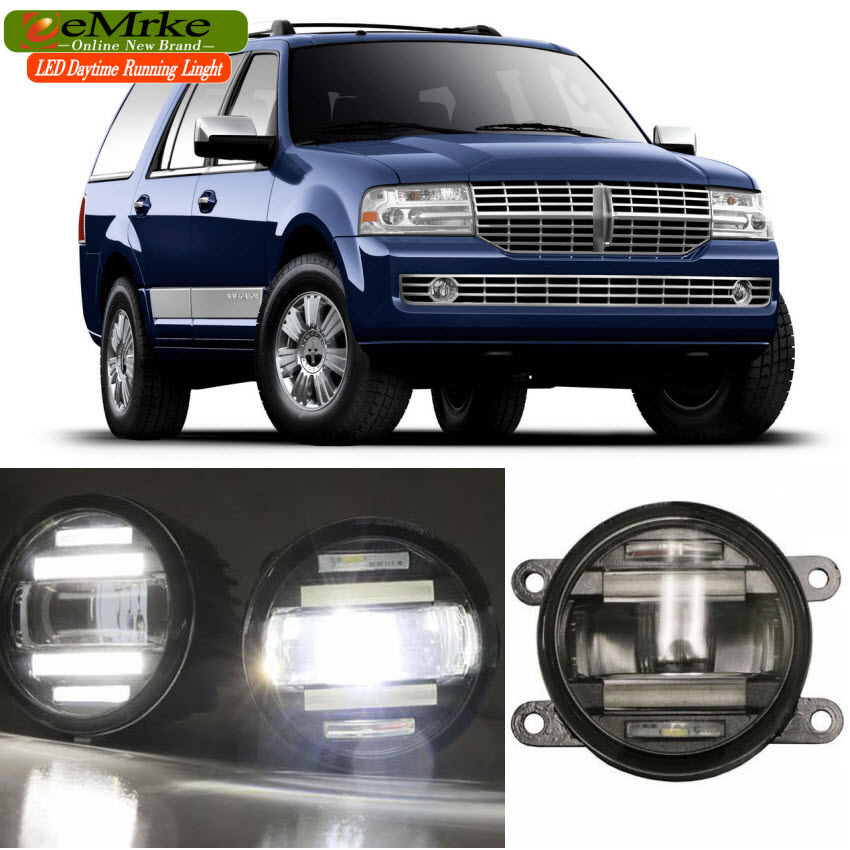eeMrke Car Styling For Lincoln Navigator 2007-2014 2 in 1 LED Fog Light Lamp DRL With Lens Daytime Running Lights eemrke car styling for opel zafira opc 2005 2011 2 in 1 led fog light lamp drl with lens daytime running lights