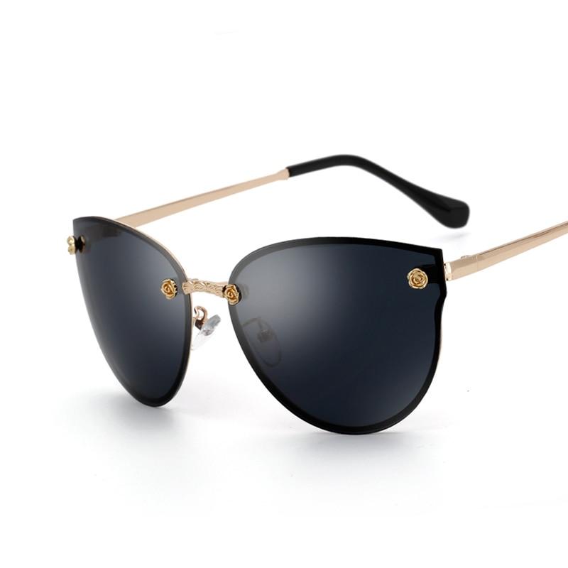 Kovový rám kočičí oko ženy sluneční brýle ženské bezrámové sluneční brýle slavné značky návrhář brýle z legované slitiny nohou Oculos De Sol Feminino