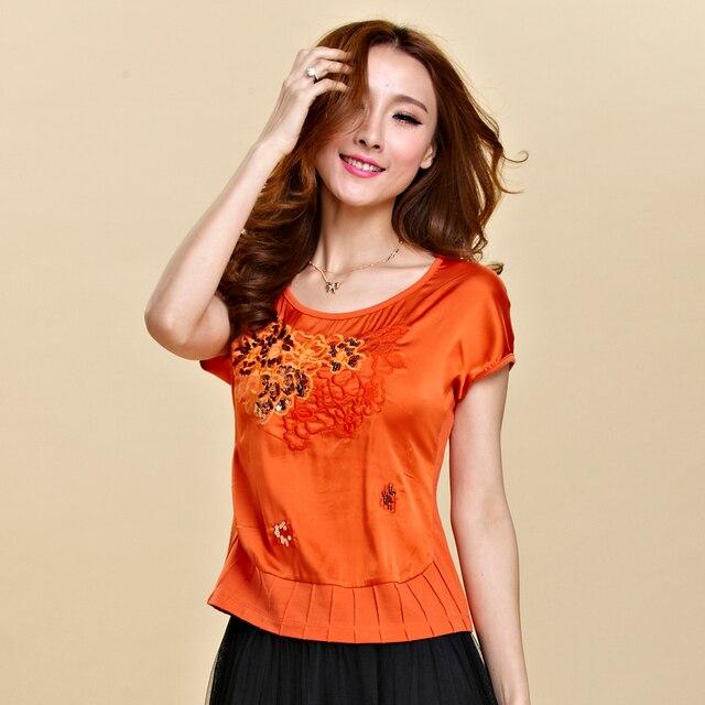 2017 Летом национальная тенденция вышивка цветок с коротким рукавом Футболки женщин короткий дизайн лучших плюс размер китайский стиль шелковый футболка