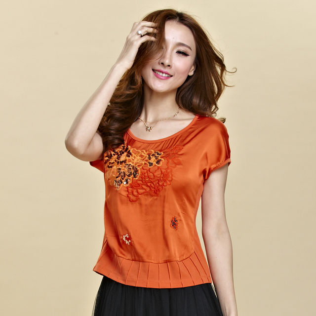 2017 Summer national trend embroidery flower short-sleeve T-shirt women's short design top plus size chinese style silk t-shirt