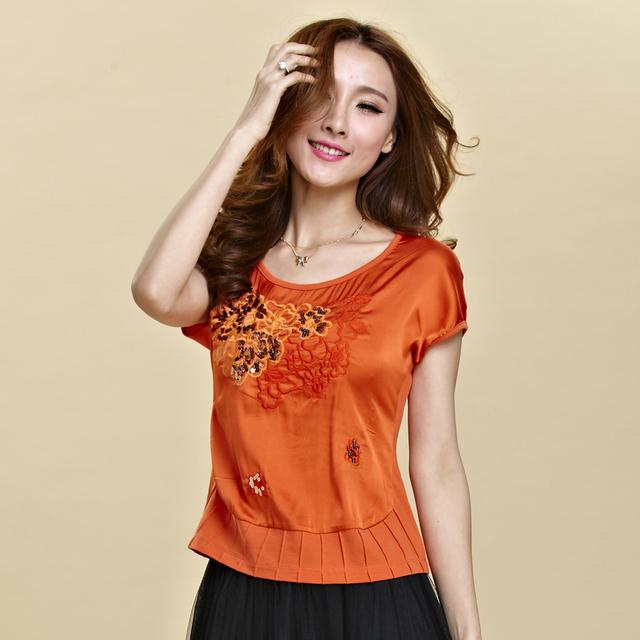 2017 Verão tendência nacional bordado flor projeto short curto-luva longa T-shirt das mulheres top plus size estilo chinês de seda t-shirt