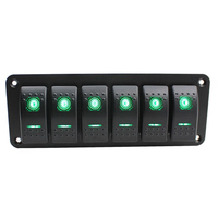 Wholesales item 6 Gang Car Boat Marine Circuit Green LED Rocker Switch Panel Breaker 12V/24V