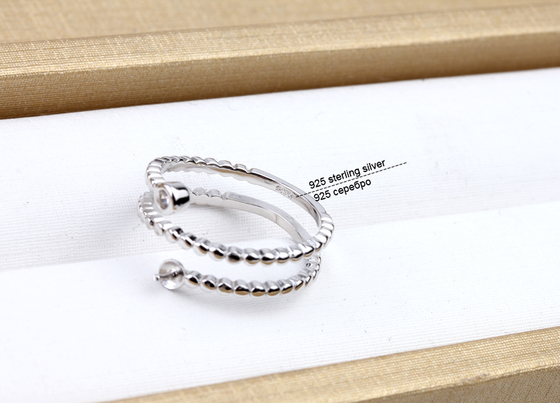 Mode 925 Sterling Silber Ringe Halter Frauen DIY Ringe Natürliche - Edlen Schmuck - Foto 4
