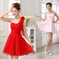 2017 nova venda quente bonito curto do regresso a casa vestidos rosa vermelho vestidos 2014 grau sem mangas baratos vestidos a line sexy para festa vestido formal