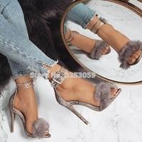 ALMUDENA Women Sexy Grey Snakinskin Buckle Strap Fur Sandals Stiletto Heels Nightclub Sky High Pumps Gladiator Shoes