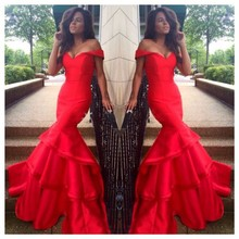 Off The Shoulder Vintage Prom Dress Mermaid Long Red Dresses Tiered Gowns