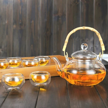 All Ready Elegant Glass Tea Set Heat-resistant bamboo handle Tea Pot With Cups Tray Kettle Warmer Home Tea Giftset Table Ware william ulkers all about tea
