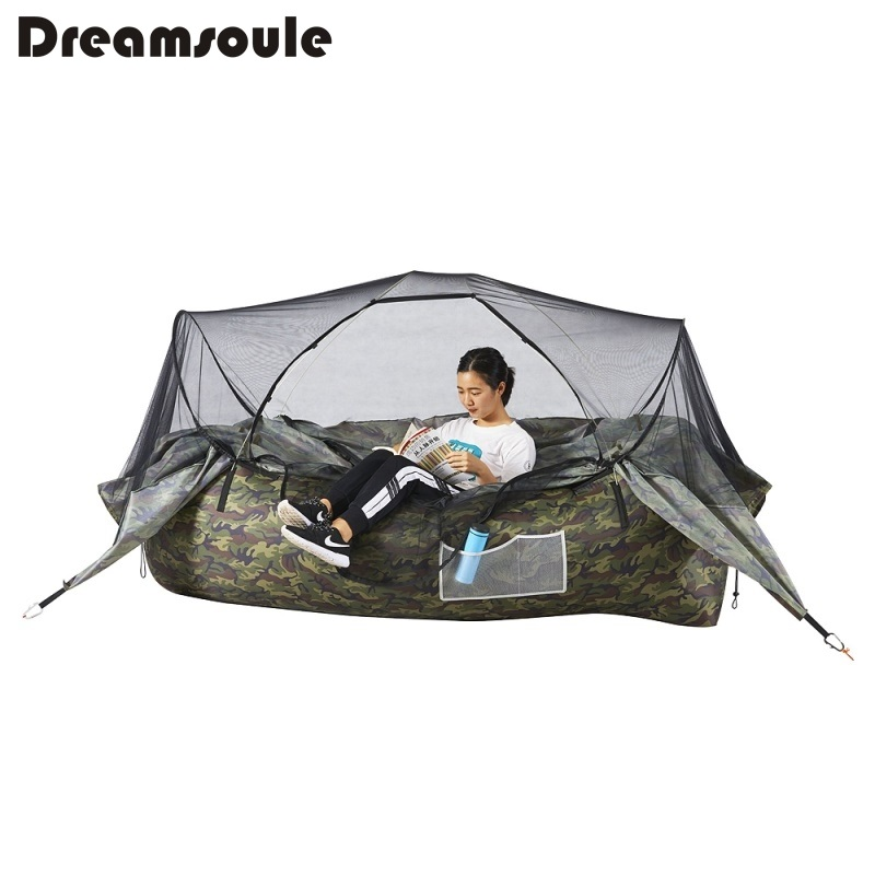 DREAMSOULE Inflatable Air Sofa Portable Lounger with Detachable Tent and Mosquito Net for Camping, Hiking Etc. - Camouflage funny summer inflatable water games inflatable bounce water slide with stairs and blowers