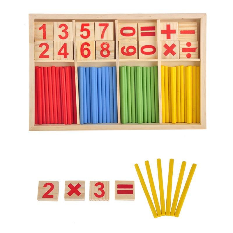 Colorful Bayi Mainan Menghitung Tongkat Pendidikan Kayu Bangunan Intelijen Blok Montessori Matematika Kotak Kayu Hadiah Anak