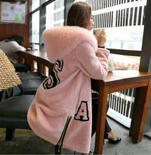 Autumn Winter Women's Mid-long Natural Sheep Shearling Fur Coat With Fox Fur Collar Fur Trim Hooded Jacket MM-50