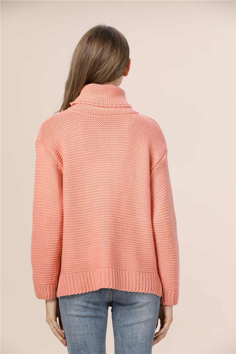 Casual Loose Autumn Winter Turtleneck Sweater Women Oversize Solid Knitted Sweaters Warm Long Sleeve Pullover Sweater Black Pink 13