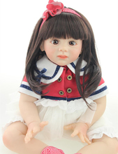 High Qulity Doll Toys of 24 inch Toddler Doll Reborn Fridolin with Girl Lace Dress & Stripe Headband as Girls Birthday Gift