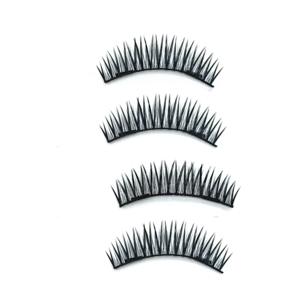 4Pcs/box Double Magnet False Eyelashes Soft Magnetic Fake EyeLash Extension 3D Natural Long Reusable Eye Lashes Makeup Beauty
