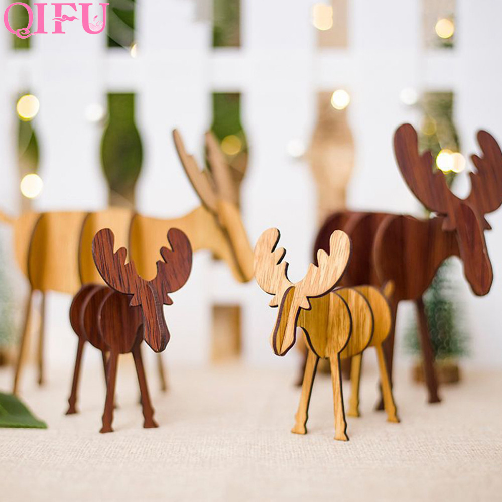 Wooden Christmas Crafts.Qifu Elk Diy Merry Christmas Wooden Ornaments Christmas Crafts
