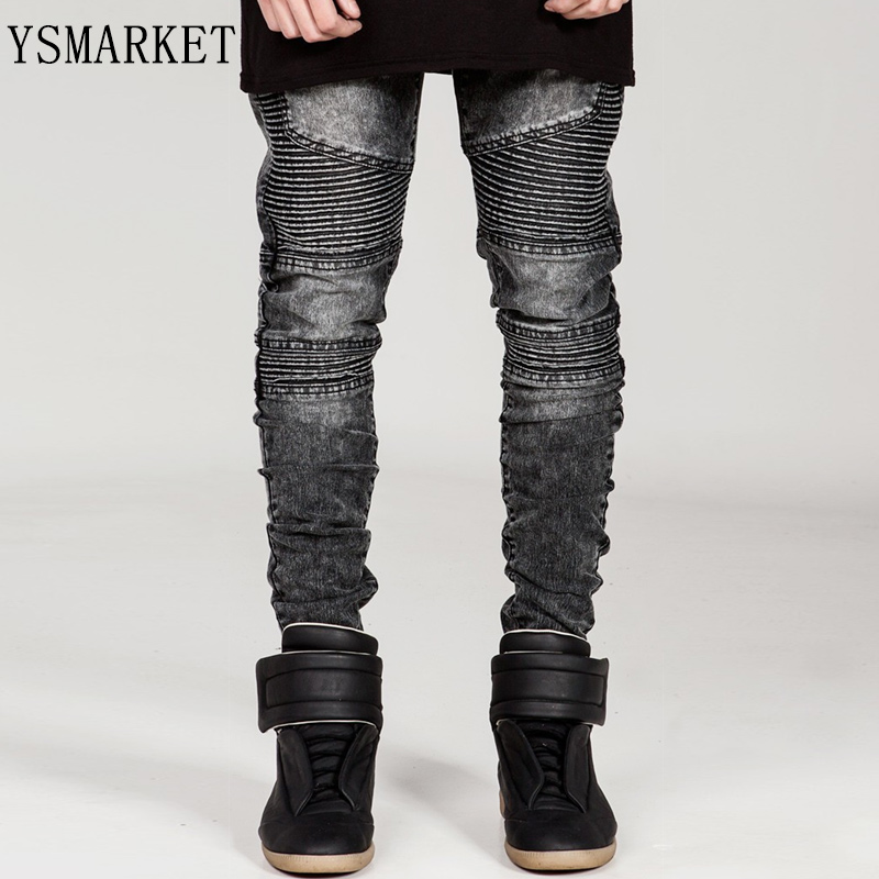 2017 Plus Size Famous Brand Men Black Solid Straight Slim Fit Biker Jeans Pant Denim Trousers Jeans Ripped skinny Jeans E6601 male slim fit pants for men fashion motorcyle men s straight jeans denim biker trousers male famous brand plus size 34 52 e492