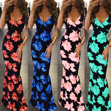 5XL Plus Size Dress Strap vékony Slim Backless Beach Dress Női ruhák hosszú ruha Floral Print nyári ruha 2018 bodycon M1