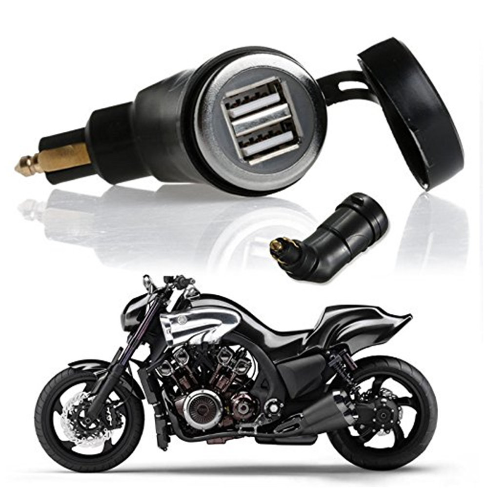 Motorcycle DIN Hella Socket Dual USB Car Charger for BMW Phone  iPhone