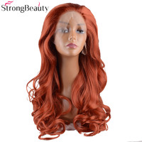 StrongBeauty Long Synthetic Wavy Hair Light Red Heat Resistant Fiber Women's Full Wig Lace Front Wigs