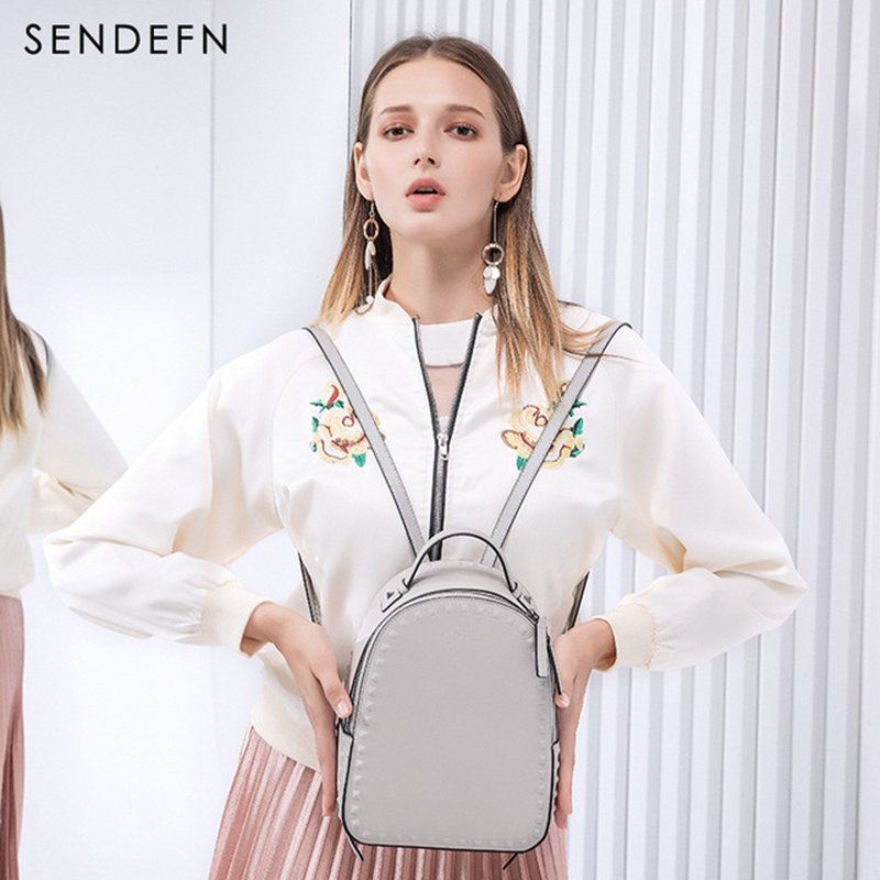 цена на Sendefn Luxury Brand 2018 New Backpack Women Backpack Female Split leather Should Bag For Teens Girls School Bag Casual Daypacks